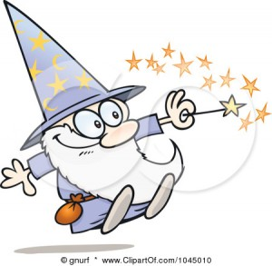 1045010-Royalty-Free-RF-Clip-Art-Illustration-Of-A-Happy-Little-Wizard-Using-His-Magic-Wand